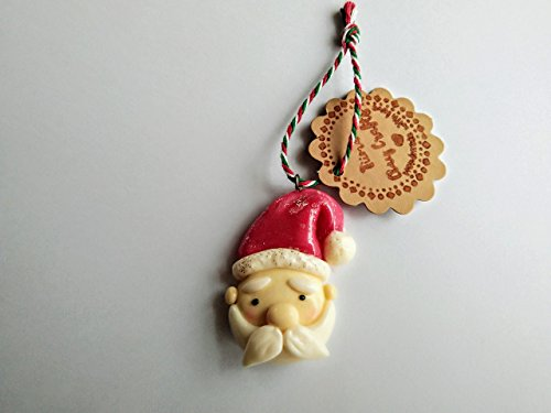 Hand-crafted Cold Porcelain Santa face Christmas ornament (Face Christmas Ornament)