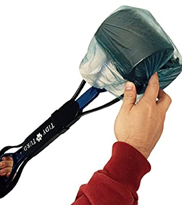 Nomad Pets Tidy Turd Pooper Scooper for Dogs with Blue Poop Bags - Perfect for Small, Medium, Large, XL Pets - Best Long Handle Scoop - Portable with Jaw Claw Bin and Heavy Duty - Great in Grass