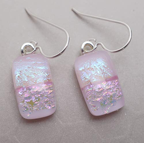 Modern Art pale pink fused dichroic glass dangle earrings .925 sterling silver ear wires #336 ()
