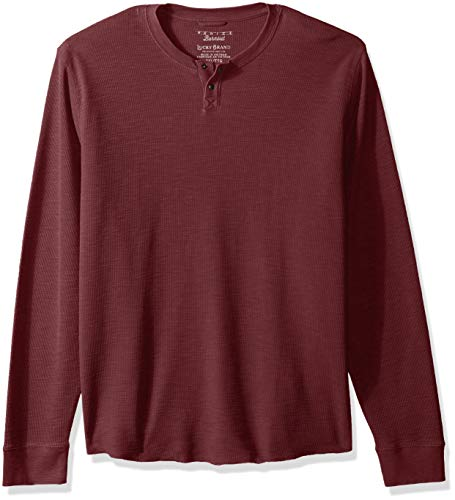 (Lucky Brand Men's Casual Long Sleeve Burnout Thermal Notch Neck TEE, red pear, XXL)