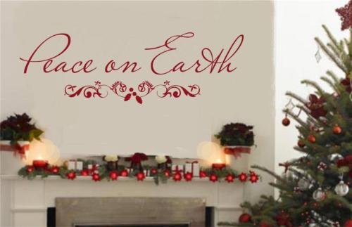 Peace On Earth Scroll Christmas Decor Wall Decal Vinyl Sticker Words -