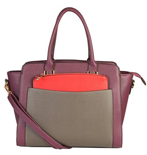 Rimen & Co. Double Top Handles Three Tone Structured Satchel Tote Women Handbag Plus 1 Additiona Mini Clutch Purse (Discount Designer Bags)