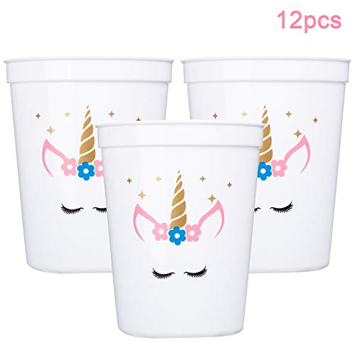 MISS FANTASY Unicorn Cups Unicorn Party Supplies Favors Magical Party Sparkle Keepsake Cups for Girls Plastic Cups 12 OZ Pack of 12 Packed with White Paper Box (White)]()
