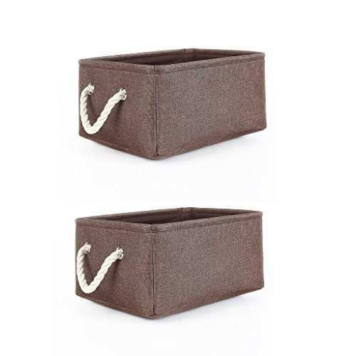 Brown Bins (TheWarmHome 2 Pack Brown Storage Baskets with Cotton Rope Handles, Collapsible Cloth Storage Bins for Shelves,Decorative Fabric Storage Bin for Gifts Empty)
