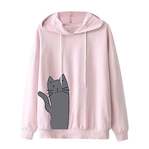 Pink Poodle Rocker - Sunhusing Ladies Cat Print Hooded Sweatshirt Solid Color Drawstring Round Neck Long Sleeve Pullover Pink