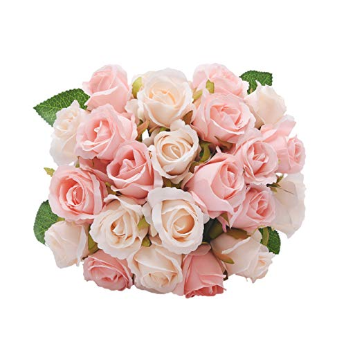 NYRZT Artificial Flowers Silk Roses 24 Heads Bridal Wedding Bouquet Decoration Home Garden Party Decor (Pink Champagne) (Silk Rose Bridal Bouquet)