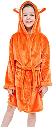 Michley Unisex Kid's Hooded Flannel Bathrobe, Cozy Robe for Girls