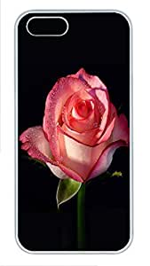 Beautiful pink scented ro Diy For HTC One M7 Case Cover (Flowers Series, Watercolor style, White)