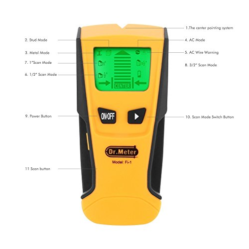 Dr.Meter Backlight Stud Metal AC Wire Scanner Wall Stud Finder Electronic StudSensor, Yellow