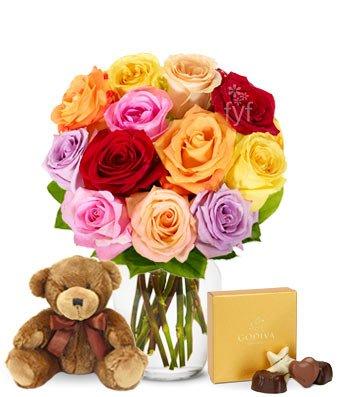Flowers - One Dozen Rainbow Roses with Godiva & Bear (Free Vase Included) (One Dozen Rainbow Roses)