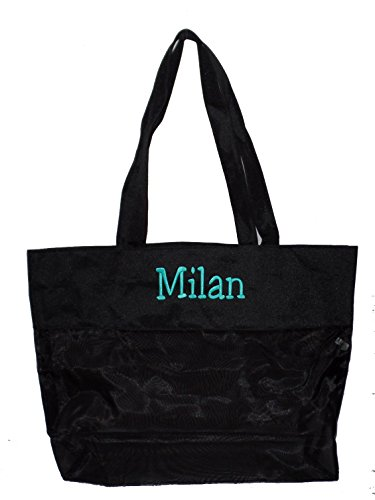 Extra Large Micro Mesh Nylon Tote Bag - Shopping, Beach (Black- Personalized) by 101BeachBags (Image #1)