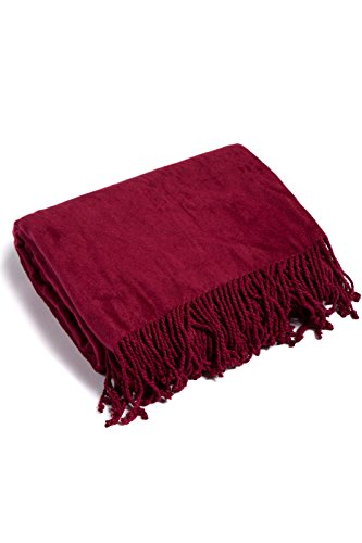 Fishers Finery Micro Velvet Fleece Fringe Throw; Ultra Plush and Warm (Red) (Wrapped Chocolate Custom)