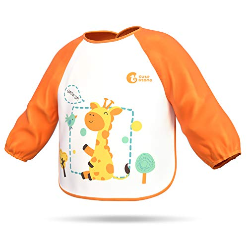Toddler Stone - Waterproof Baby Toddler Bib, Cute Stone Soft Long Sleeved Aprons Smocks with Pockets for Kids Children, Easily Wipe Clean, Keep Stains Off, Machine Washable, 6-36 Months, Orange