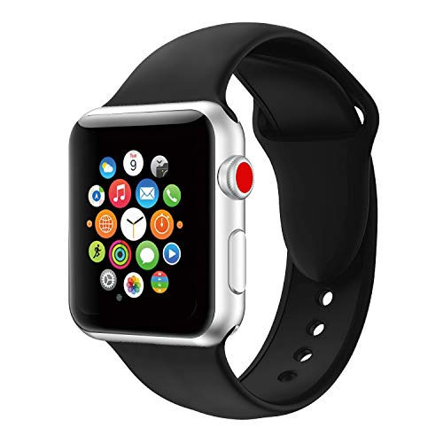 Compatible Apple Watch Bands,Soft Silicone Strap Replacement Wristbands Compatible iWatch Sport Series 3 Series 2 Series 1 Black 42mm S/M