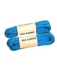 Brilliant Neon Blue Oval Athletic Shoe Sneaker Laces Shoelaces - 2 Pair Pack (54 Inch)