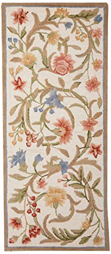 Safavieh Chelsea Collection HK248A Hand-Hooked Ivory Premium Wool Runner (2'6