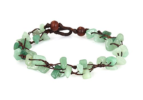 MGD, Green Aventurine Color Bead Anklet. Beautiful 26 Centimeters Handmade Stone Anklet Made from wax cord. Fashion Jewelry for Women, Teens and Girls., JB-0124A