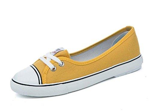 SHFANG Señora Zapatos Poco profunda boca Set pies Zapatos de lona Cómodo Movimiento Ocio Estudiantes Cómodo Cuatro colores Yellow