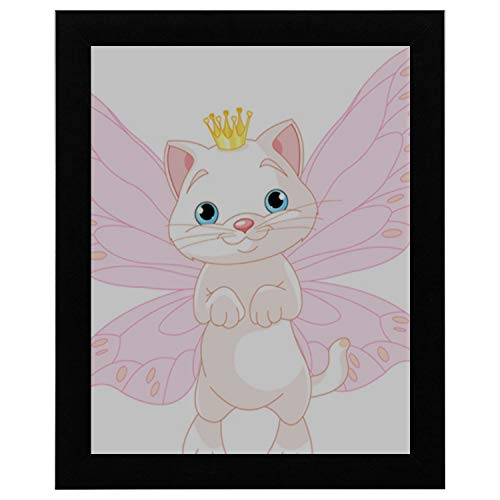 (YXFAN Kids Room Wall Decor Cute Fairy Cat Wooden Frame Painting Word 12x16 Inch Wall Clocks Large)