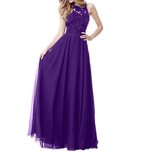 La_mia Brau Elegant Langes Chiffon Abendkleider Ballkleider Partykleider Festlichkleider Sommer Damen A-linie Rock Dunkel Violett mmLUc