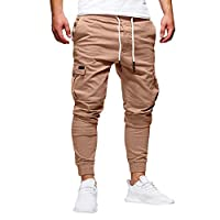 WOCACHI Final Clear Out Mens Casual Jogger Pants Sweatpants Drawstring Elastic Sports Trousers Gym Winter Distressed Skinny Drop Autumn Overalls Dungarees Jeans Track Fitness