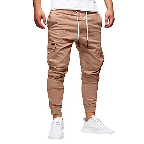 Mens Jogger Pants,Running Trousers Slim Fit Stretch Track Pants with Zipper Pockets (XXL, Khaki)