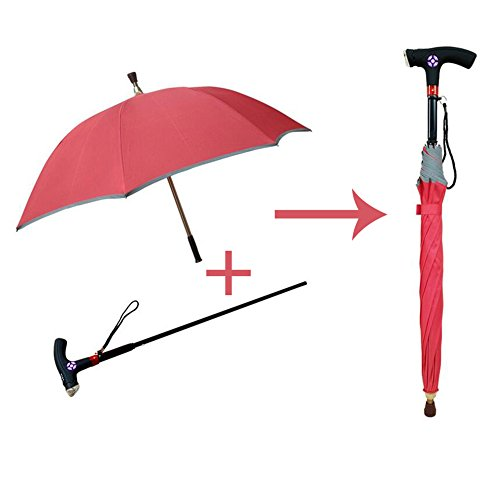 cane Multifunctional Walking Stick Umbrella With LED Light Alarm Function Separable Type 7 Bone Structures For Elder Walking HOJZ,Red