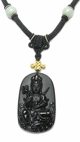 Gautama Bouddha noir obsidienne bouddhiste Collier Amulette(70x42x12mm) - Bijoux Fortune Fens Shui bouddhiste