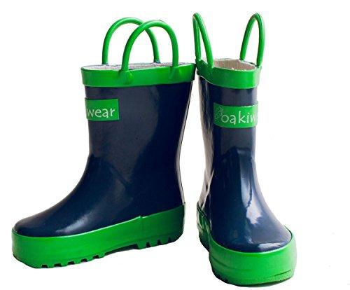 Oakiwear Children's Waterproof Rubber Rain Boots with Easy-On Handles, 12 Navy Blue by Oakiwear (Image #9)