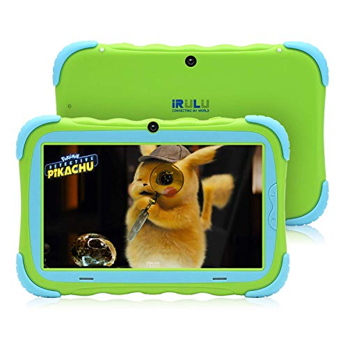 iRULU 7inches Kids Tablet 16GB Android 7.1 Quad Core IPS HD Screen Edition PC Google GMS Certified WiFi Bluetooth & Dual Cameras Babypad Supported Kids-Proof Case -Green