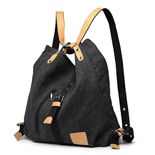 Kono Damen Canvas Handtasche Rucksack Frauen Schultertasche Shopper Tasche Vintage Hobo Umhängentasche für Arbeit Schule Reise (Schwarz)