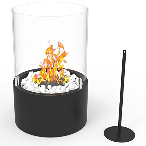 Regal Flame Casper Ventless Indoor Outdoor Fire Pit Tabletop Portable Fire Bowl Pot Bio Ethanol Fireplace in Black - Realistic Clean Burning like Gel Fireplaces, or Propane Firepits ()