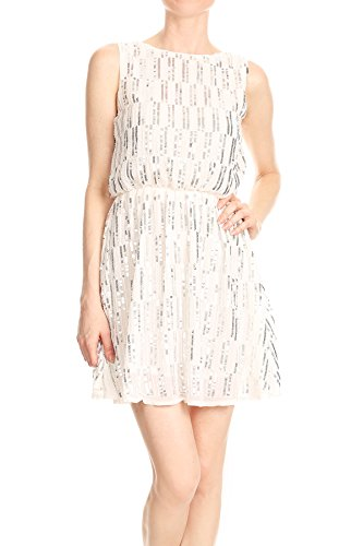 Anna Womens Deep Sleeveless Stripe Dress Backless White Back Kaci Mini Sequin V wU8rwq