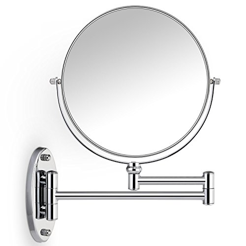Cosprof Bathroom Mirror Magnification Double-sided 8 Inch Wall Mounted Vanity Magnifying Mirror Swivel, Extendable and Chrome Finished 10X
