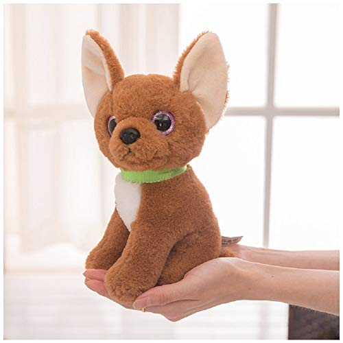 PAPPET Chihuahua Stuffed Animal Chihuahua Plush Toys Realistic Puppy Dog Action Figure Lifelike Animal Doll for Children Birthday Christmas Valentines Gifts (Brown) - 8.66 inch