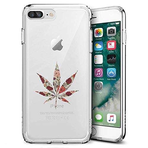 Fashion Anti-Scratch Soft Durable TPU Ultra-Clear Silicone UV Printing Protective Rose Marijuana Leaf Phone Case for iPhone 7 Plus 8 Plus (Marijuana Leaf Case)