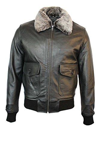 TOP GUN Black Plain Fur Men's Jet Fighter Bomber Air Force Pilot Leather Jacket (M, Black)