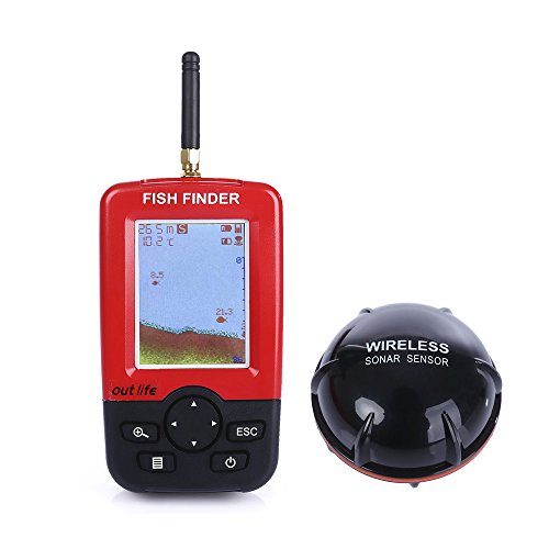 Fish Finder, Wireless & Rechargeable Sonar Sensor Fishfinder, LCD Display Smart Portable Deeper, 100m Dot Matrix 45m Range Colorized by ZEEPIN