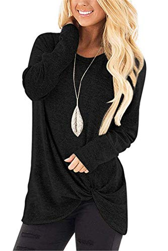 onlypuff Knotted Tops & Casual Pocket T Shirts for Women Short Sleeve Comfy Tunic Tops Solid Round Neck