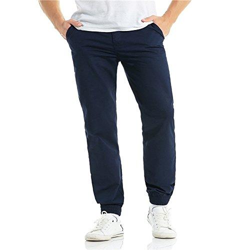 Molyveva Fashion Men Casual Harlan Beam Trousers Drawstring Zipper Pure Pants by Molyveva Men Pants