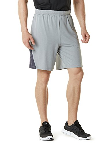 TM-MBS03-STL_Large Telsa Men's Athletic Training Shorts Active HyperDri III w Pockets MBS03
