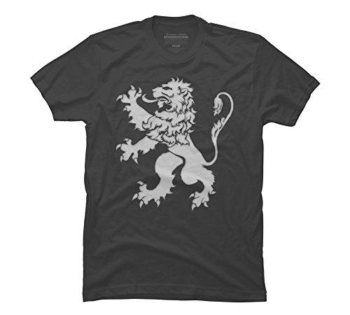 Lion Rampant Design (Design By Humans White Lion Rampant - Halftone Men's Large Charcoal Graphic T Shirt)