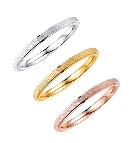 ALEXTINA 3 Pack Stainless Steel 2MM Thin Stackable Midi Rings for Women Rose Gold Silver Wedding Engagement Bands, Size 6