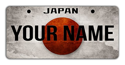BleuReign(TM) Personalized Custom Name License Japan Flag Plate Bicycle Bike Moped Golf Cart 3