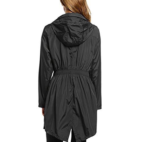 Negro Impermeable Color Rápido Solar con Mujer Libre Moda Sólido Dooxii Seco Chubasquero Rompevientos Al Aire Protector Capucha a6WIx