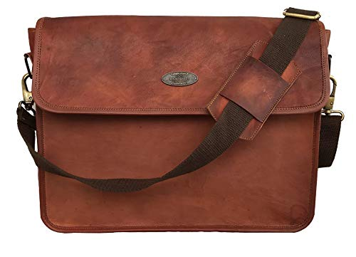 - 15 Inch Half Flap Leather Messenger Bag for Work, Laptop Shoulder Bag, New Job Gifts for Men and Teen Boys, Classic Vintage Brown Bag