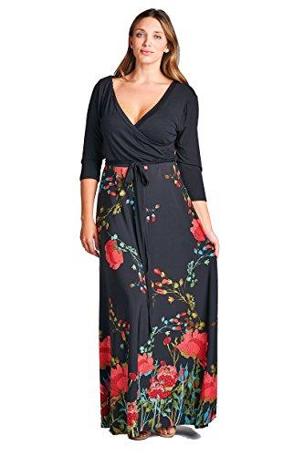 9897a1d38e On Trend Women s Paris Bohemian V-Neck Printed 3 4 Sleeve Faux Wrap Long