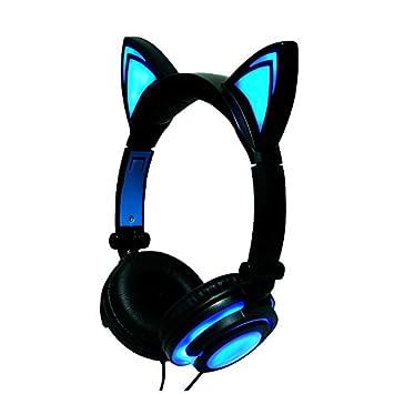 Cewaal Auriculares de oreja de gato que destella para niños que brillan plegables Auriculares con luz LED Para las niñas Niños: Amazon.es: Electrónica