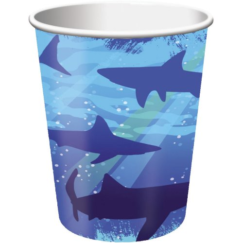 Creative Converting Shark Splash Hot or Cold Beverage Cups, 8 Count