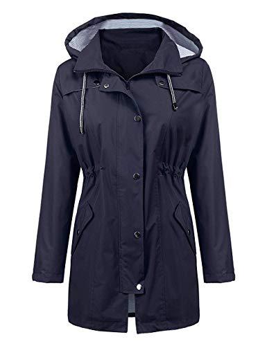 Ularma Womens Long Sleeve Lightweight Rain Coat Jackets Oversized Patchwork Windbreaker Hoodies Coats Fall Aesthetic Clothing